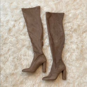 Steve Madden Emotions Nude Suede Thigh-High Boots